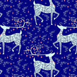 Christmas Reindeer on blue lg