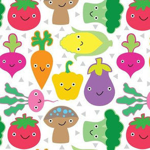 veggies-with-faces on white