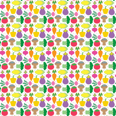 veggies on white tiny size fabric by lilcubby on Spoonflower - custom fabric