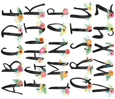 Floral Alphabet fabric by sunshinehandcraft on Spoonflower - custom fabric