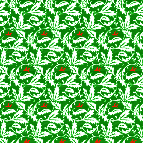 vintage vines - green & white with red fabric by janbalaya on Spoonflower - custom fabric