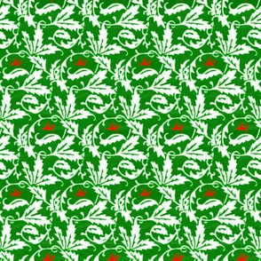 vintage vines - green & white with red