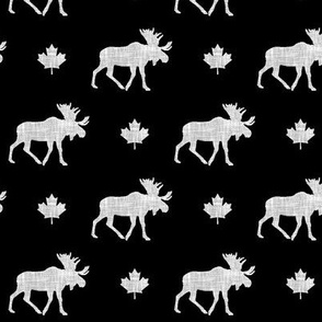 canadian moose (small scale) || light grey linen on black