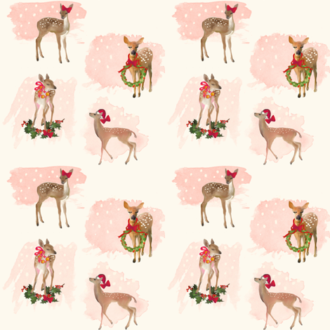 Vintage Christmas Deer fabric by katrina_ward on Spoonflower - custom fabric