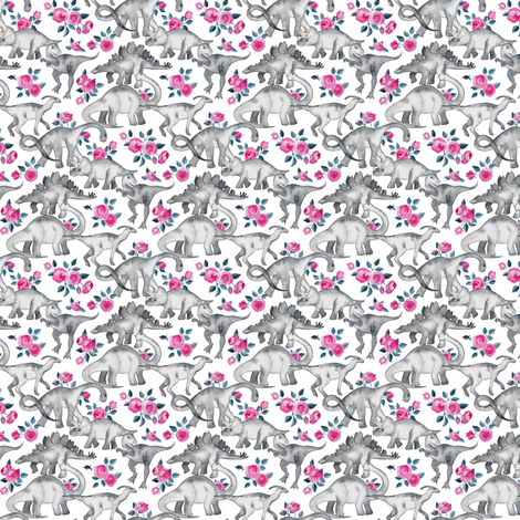 Extra Super Tiny Dinosaurs and Roses on White fabric by micklyn on Spoonflower - custom fabric