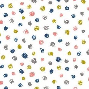 crayon polkadots - navy, coral, bronze, grey