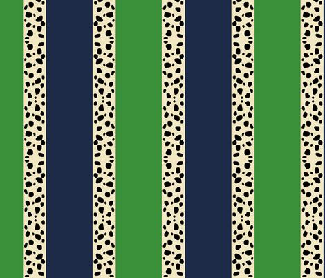 Cheetah Stripes VERTICAL- Kelly Navy fabric by drapestudio on Spoonflower - custom fabric