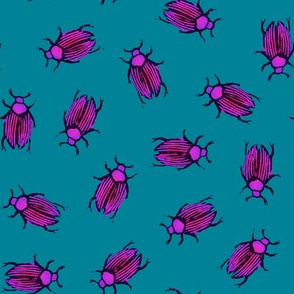 magenta beetles on teal