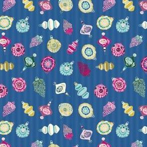 Blue Retro Christmas Ornament_Miss Chiff Designs