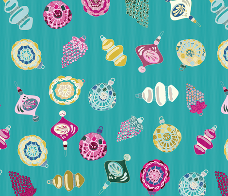 Teal Multi Christmas Ornament fabric by misschiffdesigns on Spoonflower - custom fabric