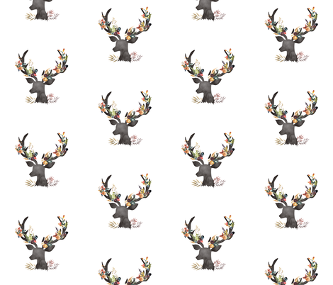 Autumn Deer in White fabric by shopcabin on Spoonflower - custom fabric