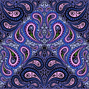Purple Pink and Lavender Counterchange Paisley Chevron