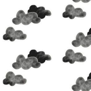 Watercolor clouds - monochrome back and white clouds || by sunny afternoon