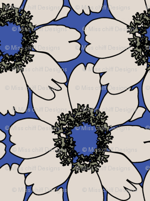 Cream Impatien Floral on blue_Miss Chiff Designs