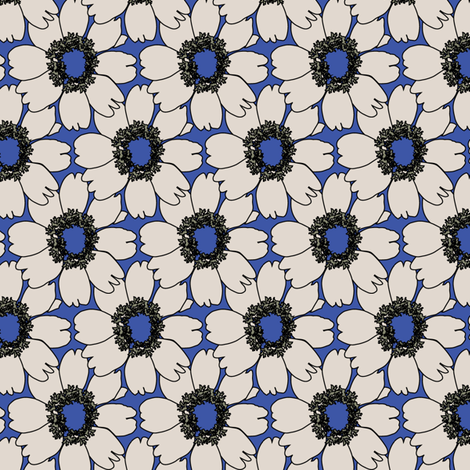 Cream Impatien Floral on blue_Miss Chiff Designs fabric by misschiffdesigns on Spoonflower - custom fabric