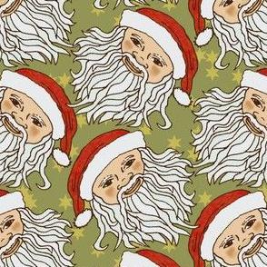Cartoon White Santa Head on Green and Stars