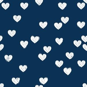 White scribbly hearts on navy