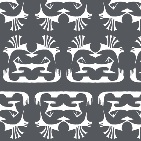 Island Tribal Print 2 Charcoal fabric by shi_designs on Spoonflower - custom fabric