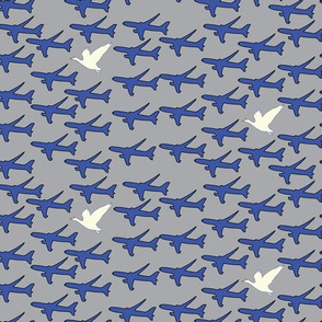 767 Airplanes Bird  || Transportation Blue silver white goose gray Aviation Plane Sky _Miss Chiff Designs