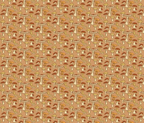 Edible Mushrooms  // Brown fabric by tanksley on Spoonflower - custom fabric