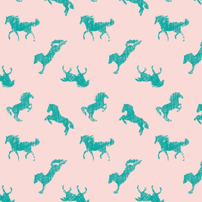 Teal Scribble Horses on Pink