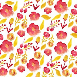 watercolor floral red yellow