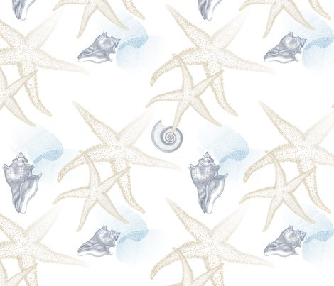 Starfish_2_beige_white_seamless_blue_coral_conch_shell_tiled_shop_preview