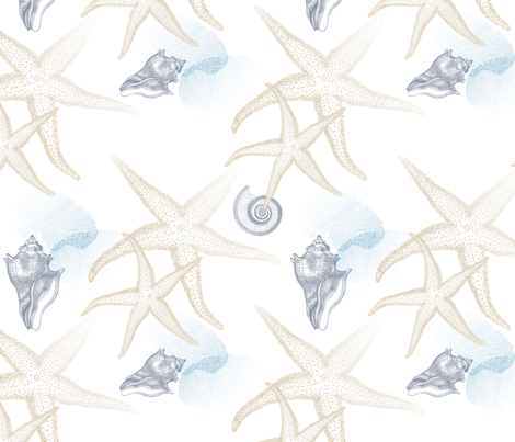 starfish_2_beige_white_seamless_blue_coral_conch_shell_tiled fabric by 13moons_design on Spoonflower - custom fabric