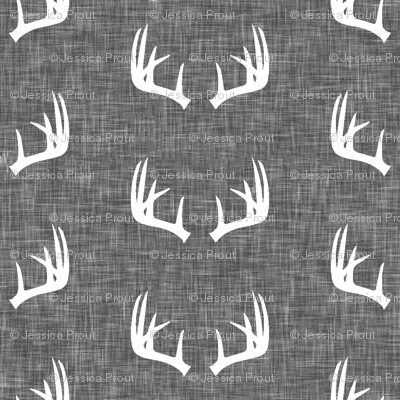 antlers on grey linen (small scale)