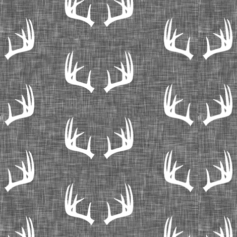 antlers on grey linen (small scale) fabric by littlearrowdesign on Spoonflower - custom fabric