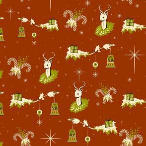 Vintage snowy reindeer