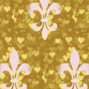 Pink and Gold Fleur de lis bokeh hearts