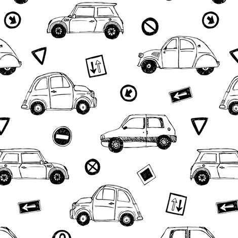 Black & white cars and traffic signs fabric by revista on Spoonflower - custom fabric