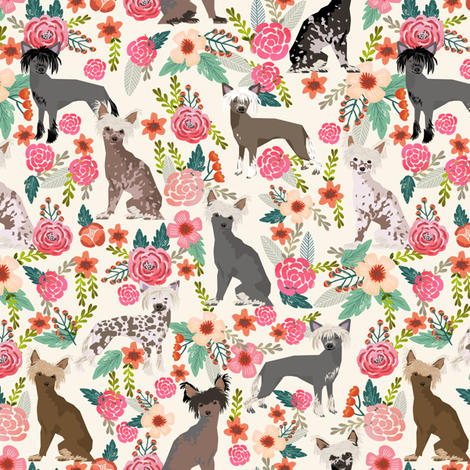 chinese crested dog hairless dog cute dog florals flowers sweet dog fabric fabric by petfriendly on Spoonflower - custom fabric