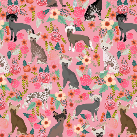chinese crested dog cute pink florals flowers dog fabric girly sweet hairless dogs fabric by petfriendly on Spoonflower - custom fabric