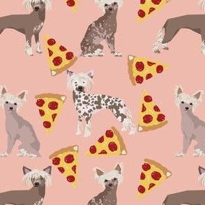 chinese crested dog pizza funny cute pink dog dogs sweet hairless dog fabric