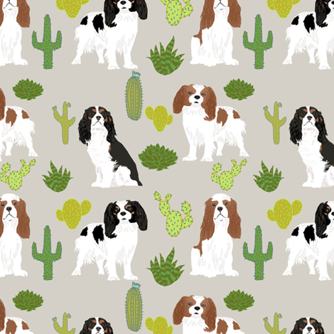 cavalier king charles spaniel dog with cute cactus trendy succulents dog fabric  fabric by petfriendly on Spoonflower - custom fabric