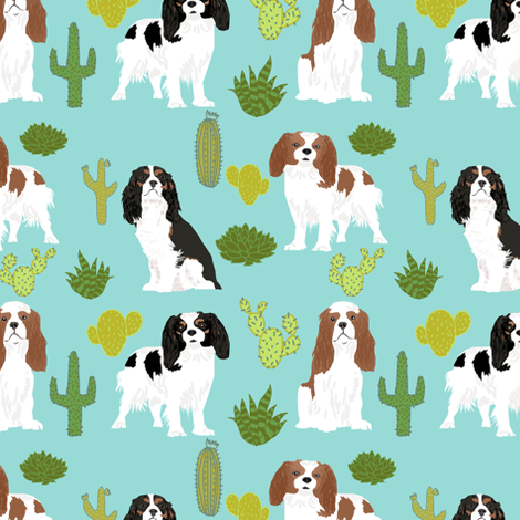 cavalier king charles spaniel mint dog fabric with cactus cacti cute dogs pet dog mint sweet dogs fabric fabric by petfriendly on Spoonflower - custom fabric