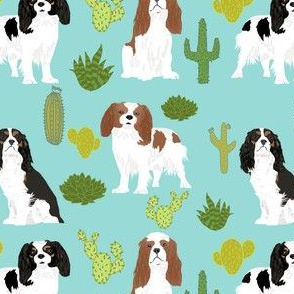 cavalier king charles spaniel mint dog fabric with cactus cacti cute dogs pet dog mint sweet dogs fabric