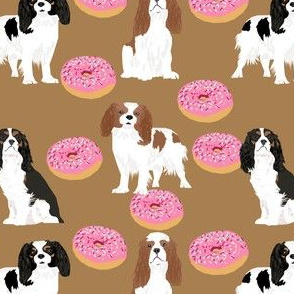 cavalier king charles spaniel dogs donuts sweet treats cute dogs fabric