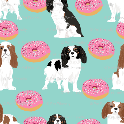 cavalier king charles spaniel dogs with donuts sweet pet dogs mint doughnuts food novelty dog print