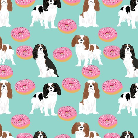 cavalier king charles spaniel dogs with donuts sweet pet dogs mint doughnuts food novelty dog print fabric by petfriendly on Spoonflower - custom fabric