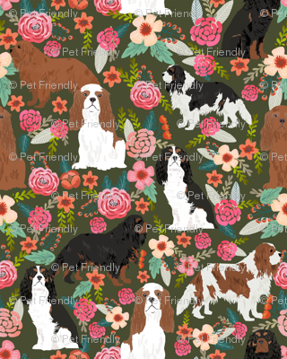 cavalier king charles spaniel dog cute pets pet spaniel dog breed fabric