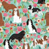cavalier king charles spaniel fabric florals sweet flowers vintage spring floral fabric mint