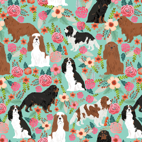 cavalier king charles spaniel fabric florals sweet flowers vintage spring floral fabric mint fabric by petfriendly on Spoonflower - custom fabric
