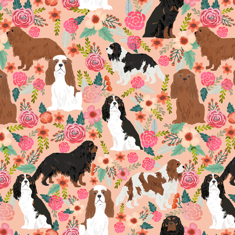 cavalier king charles spaniel dog florals flowers flower cute dog dogs pets vintage florals peach fabric by petfriendly on Spoonflower - custom fabric