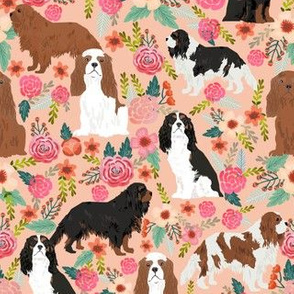 cavalier king charles spaniel dog florals flowers flower cute dog dogs pets vintage florals peach