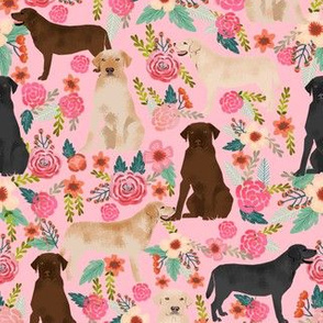 labrador pink florals cute labrador dog fabric yellow lab golden lab black lab chocolate labrador fabrics for cute dogs