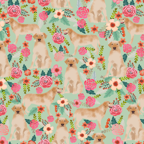 labrador florals sage green lovely light green fabric florals labrador fabric yellow labrador retriever fabric fabric by petfriendly on Spoonflower - custom fabric