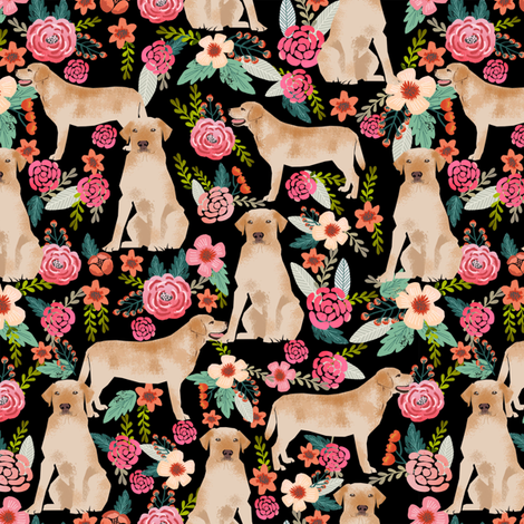 labrador fabric cute florals dog fabric cute yellow labrador retriever fabric for dog owners fabric by petfriendly on Spoonflower - custom fabric